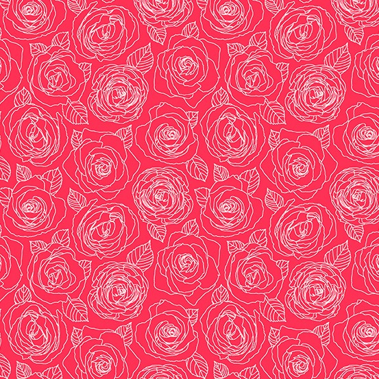 Andover Fabrics Mosaic, Rose Outlines in Cherry, Fabric Half-Yards A-8882-E