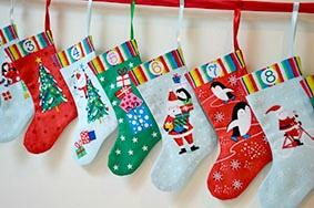 "Andover Fabrics Jolly Santa, Advent Calendar Christmas Stockings, 24"" Fabric Panel"