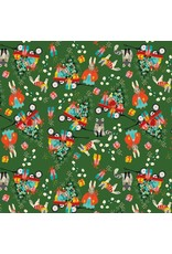 Elizabeth Grubaugh A Winters Tail, Marshmallow Morning in Green, Fabric Half-Yards 126.103.03.2