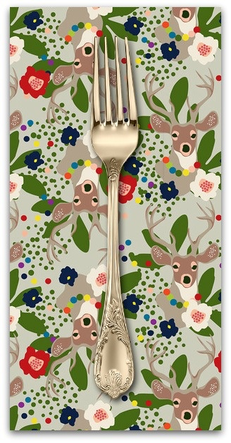 PD's Blend Fabrics Collection A Winters Tail, Deer Santa in Taupe, Dinner Napkin