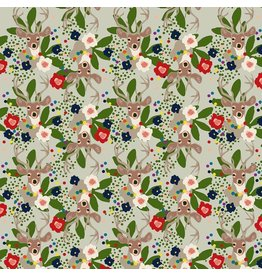 Elizabeth Grubaugh A Winters Tail, Deer Santa in Taupe, Fabric Half-Yards 126.103.02.1