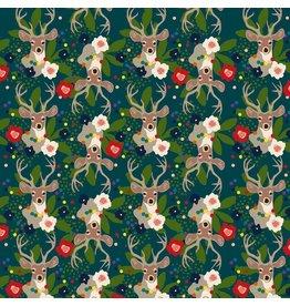 Elizabeth Grubaugh A Winters Tail, Deer Santa in Blue, Fabric Half-Yards 126.103.02.2