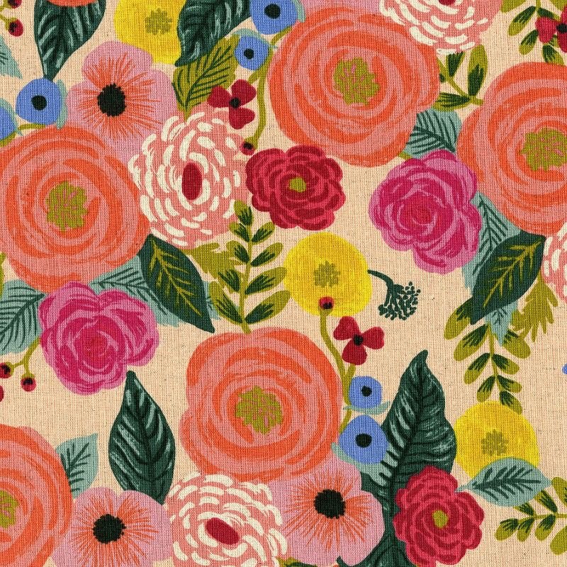 Rifle Paper Co. Linen/Cotton Canvas, English Garden, Juliet Rose in Cream, Fabric Half-Yards AB8066-012