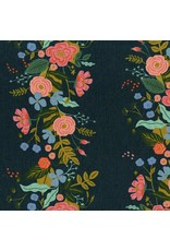 Rifle Paper Co. Linen/Cotton Canvas, English Garden, Floral Vines in Navy, Fabric Half-Yards AB8067-022