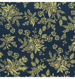 Rifle Paper Co. English Garden, Toile in Navy with Gold Metallic, Fabric Half-Yards AB8060-002