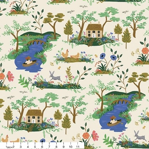 Rifle Paper Co. English Garden, Garden Toile in Cream, Fabric Half-Yards AB8056-001