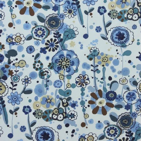 Alexander Henry Fabrics Cotton Lawn, AH Larkspur Meadow in Indigo, Fabric Half-Yards L7423D