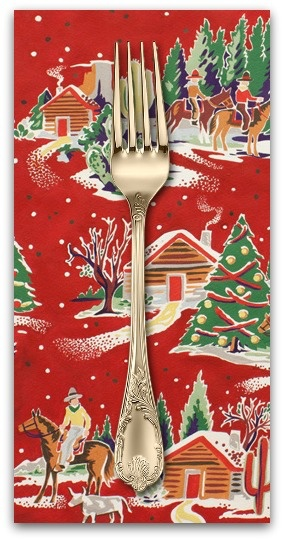 PD's Alexander Henry Collection Christmas Time, Western Winter in Red, Dinner Napkin