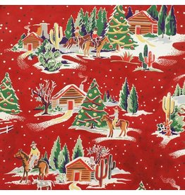Alexander Henry Fabrics Christmas Time, Western Winter in <br /> Red, Fabric Half-Yards 8416AR
