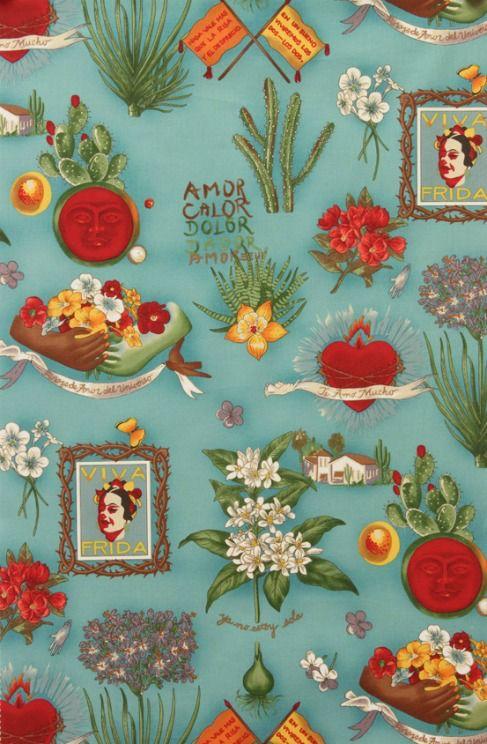 Alexander Henry Fabrics Folklorico, Viva Frida in Blue, Fabric Half-Yards 1406DR