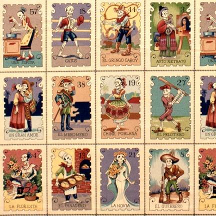 Alexander Henry Fabrics Folklorico, Cartas Marcadas in Tea, Fabric Half-Yards 7666CF