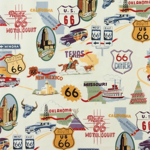 PD's Alexander Henry Collection Nicole's Prints, Route 66 in Natural Bizness, Dinner Napkin