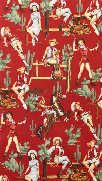Alexander Henry Fabrics Santa Fe, From the Hip in Red, Fabric Half-Yards 2494E