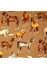 Alexander Henry Fabrics Santa Fe, Love of Horses in Taupe, Fabric Half-Yards 8443C