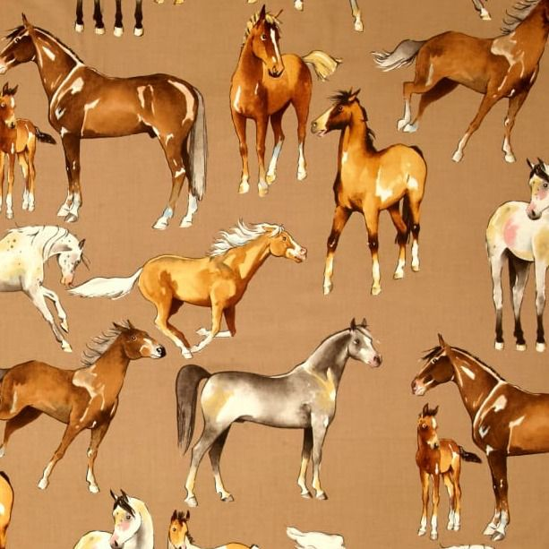 PD's Alexander Henry Collection Santa Fe, Love of Horses in Taupe, Dinner Napkin