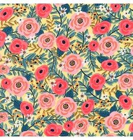 Robert Kaufman Laguna Lightweight Jersey Floral in Yellow, Fabric Half-Yards AHR-17399-5