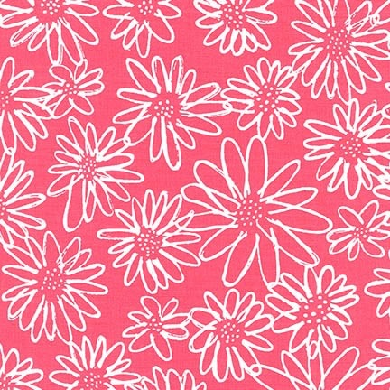Karen Lewis Blueberry Park, Flowers in Punch, Fabric Half-Yards AWI-15747-367