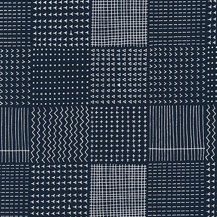 Karen Lewis Blueberry Park, Patch in Navy, Fabric Half-Yards AWI-15751-9
