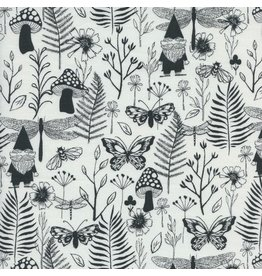 Sarah Watts Front Yard, Garden in Black, Fabric Half-Yards S2070-002