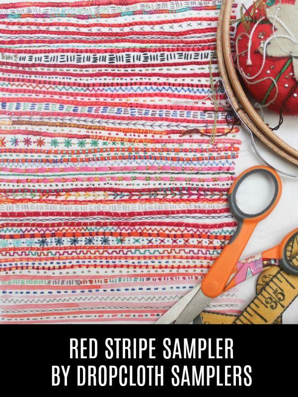Dropcloth Samplers The Red Stripe Sampler, Embroidery Sampler from Dropcloth Samplers