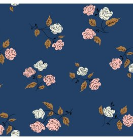 Kim Kight Steno Pool, Roses in Midnight, Fabric Half-Yards K3065-001