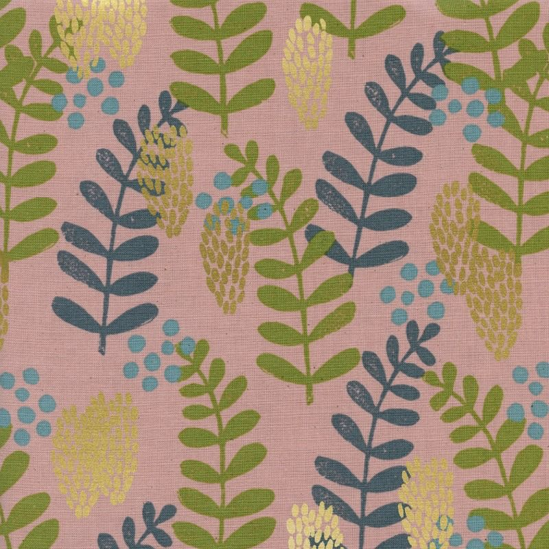 Jen Hewitt Imagined Landscapes, Fern Dell in Rose Unbleached Cotton with Metallic, Fabric Half-Yards J9011-002