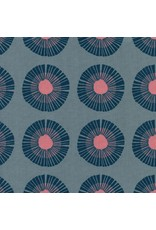 Jen Hewitt Imagined Landscapes, Seaside Daisy in Slate Unbleached Cotton, Fabric Half-Yards J9014-001