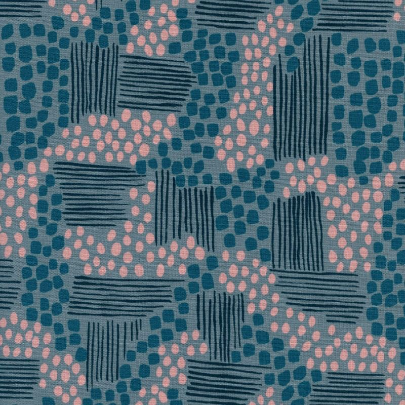 Jen Hewitt Imagined Landscapes, Aeriel View in Stone Unbleached Cotton, Fabric Half-Yards J9010-001