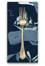 PD's Rae Ritchie Collection Aweigh North, Whale Ships in Navy, Dinner Napkin
