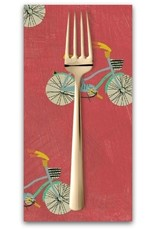 PD's Carrie Bloomston Collection Wonder, Little Bikes in Watermelon, Dinner Napkin