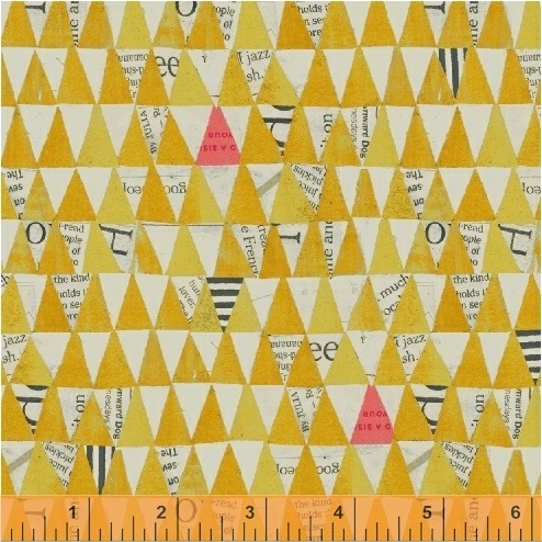 Carrie Bloomston Wonder, Stacked Triangles in Mustard, Fabric Half-Yards 50521