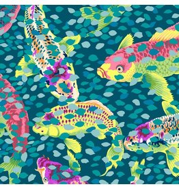 Snow Leopard Designs Arcadia, Carp and Petals in Teal, Fabric Half-Yards PWSL067