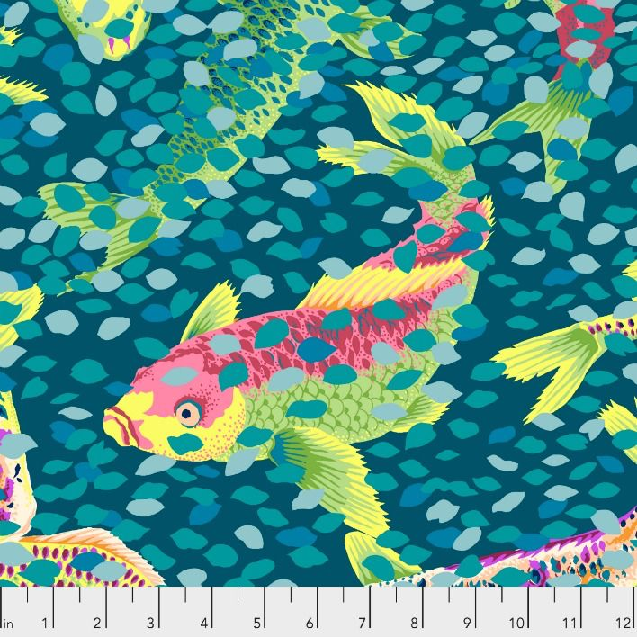 PD's Snow Leopard Designs Collection Arcadia, Carp and Petals in Teal, Dinner Napkin