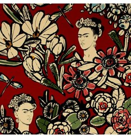 Alexander Henry Fabrics Folklorico, Cactus Flower Frida in Red, Fabric Half-Yards 8359C
