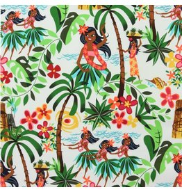 Alexander Henry Fabrics Beach Scenes, Leis, Luaus and Alohas in Natural, Fabric Half-Yards 15093AR