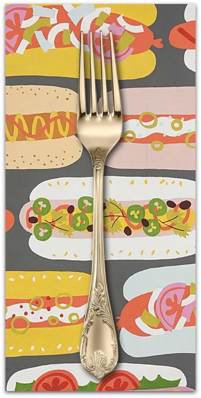 PD's Alexander Henry Collection Boardwalk, Hot Dog! in Graphite, Dinner Napkin