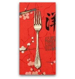 PD's Alexander Henry Collection Indochine, Golden Garden in Red, Dinner Napkin