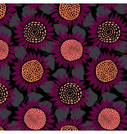 Sarah Watts Front Yard Cotton Lightweight Jersey, Sunflowers in Purple Moonrise  S2076-027, Fabric Half-Yards