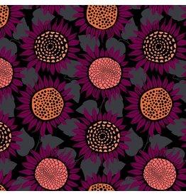 Sarah Watts Front Yard Cotton Lightweight Jersey, Sunflowers in Purple S2076-027, Fabric Half-Yards