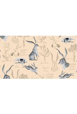 Rae Ritchie Natural History, Rabbit Study in Parchment, Fabric Half-Yards STELLA-SRR1085