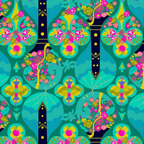 Alison Glass Road Trip, Treehouse in Jade, Fabric Half-Yards A-8899-T