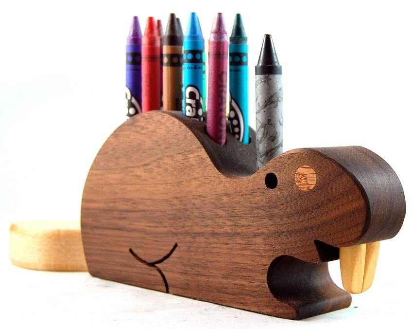 Alain Mailhot - Sculpteur Porte-crayons de cire - Castor