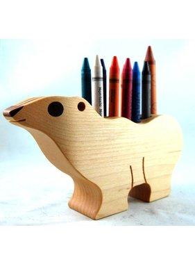 Alain Mailhot - Sculpteur 1 Bear - Wax crayons holder
