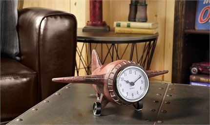 Vintage airplane design table clock