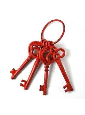 Ens 4 clés rouge en fonte
