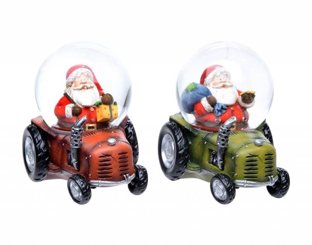 Boule d'eau Père Noël en Tracteur