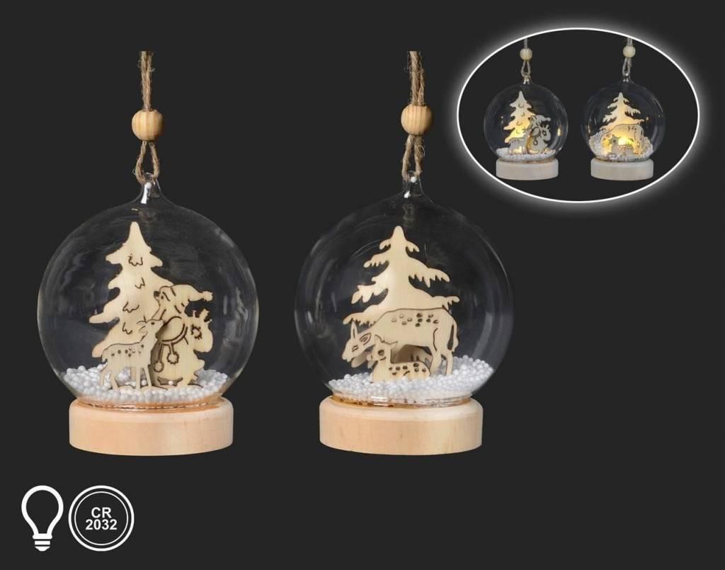 Cerf boule illuminé de bois et verre