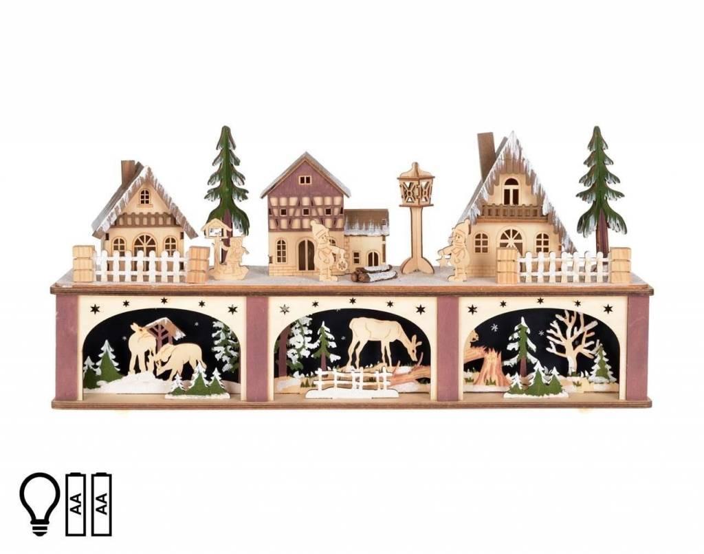 Village Alpin de bois. Deux étages