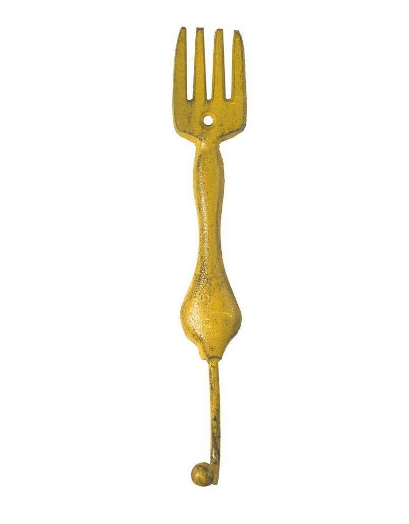 Crochet fourchette jaune en fonte