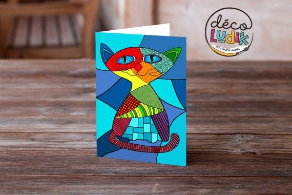 Le chat carte de souhait